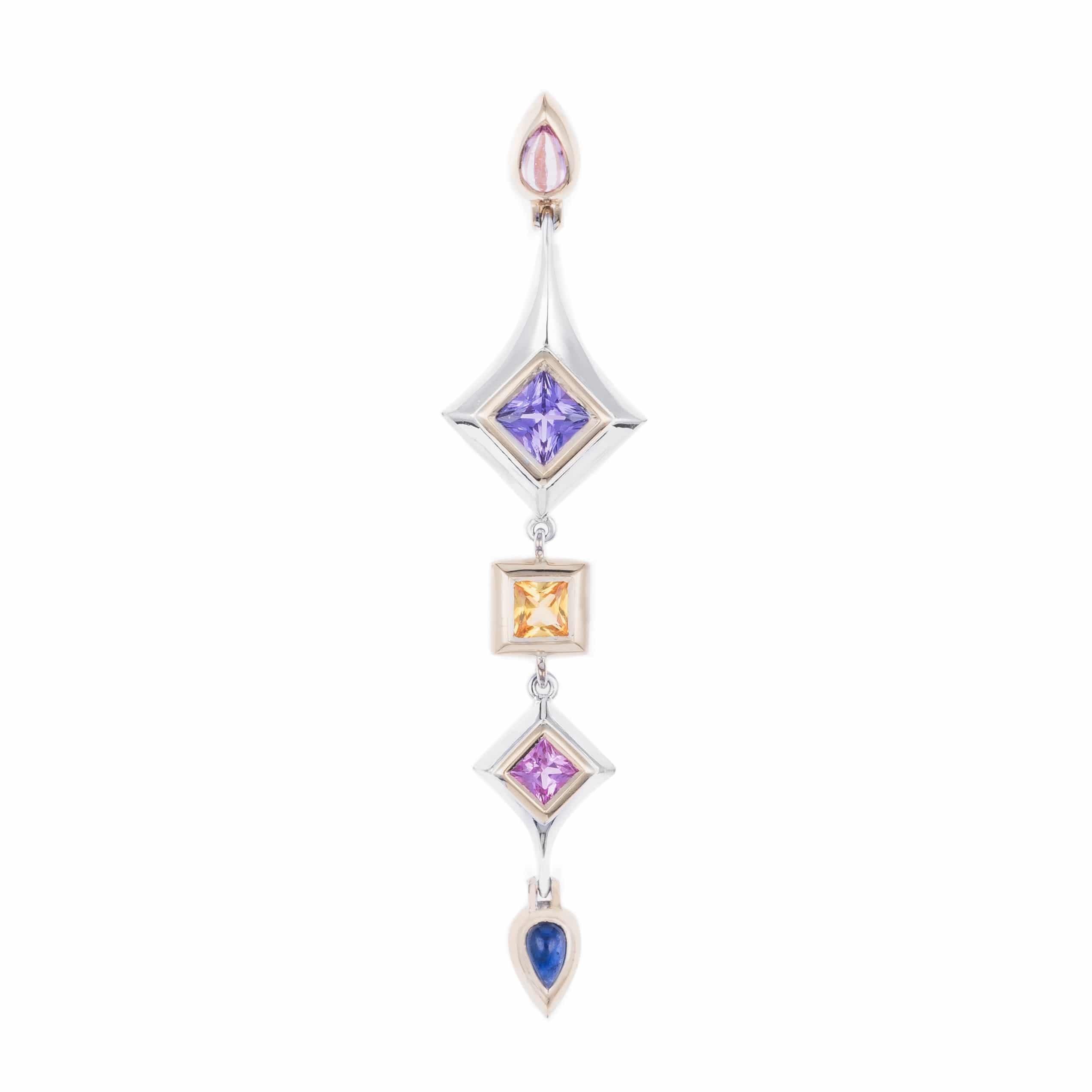 sapphire pendant in 18ct white and yellow gold