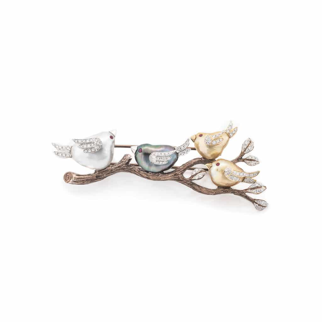 handcrafted pearl brooch