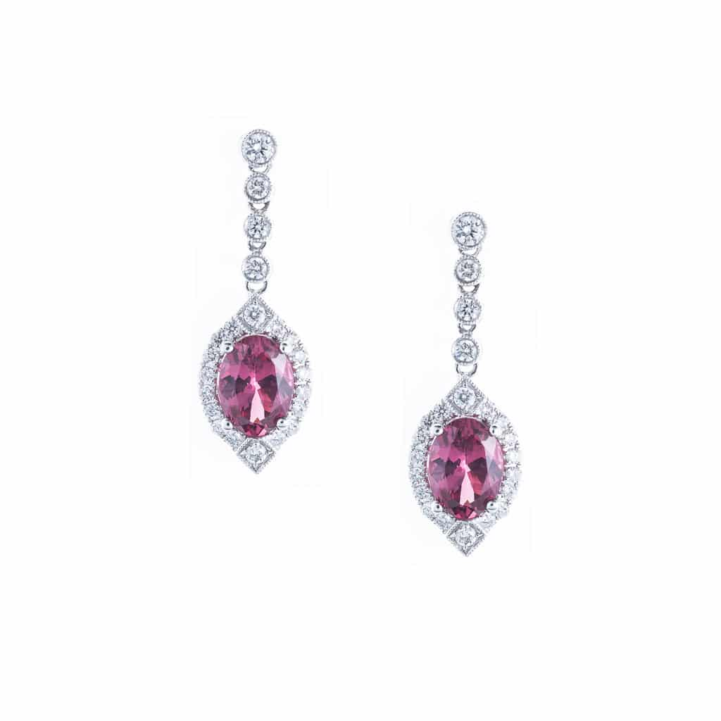 red imperial spinel and diamond earrings