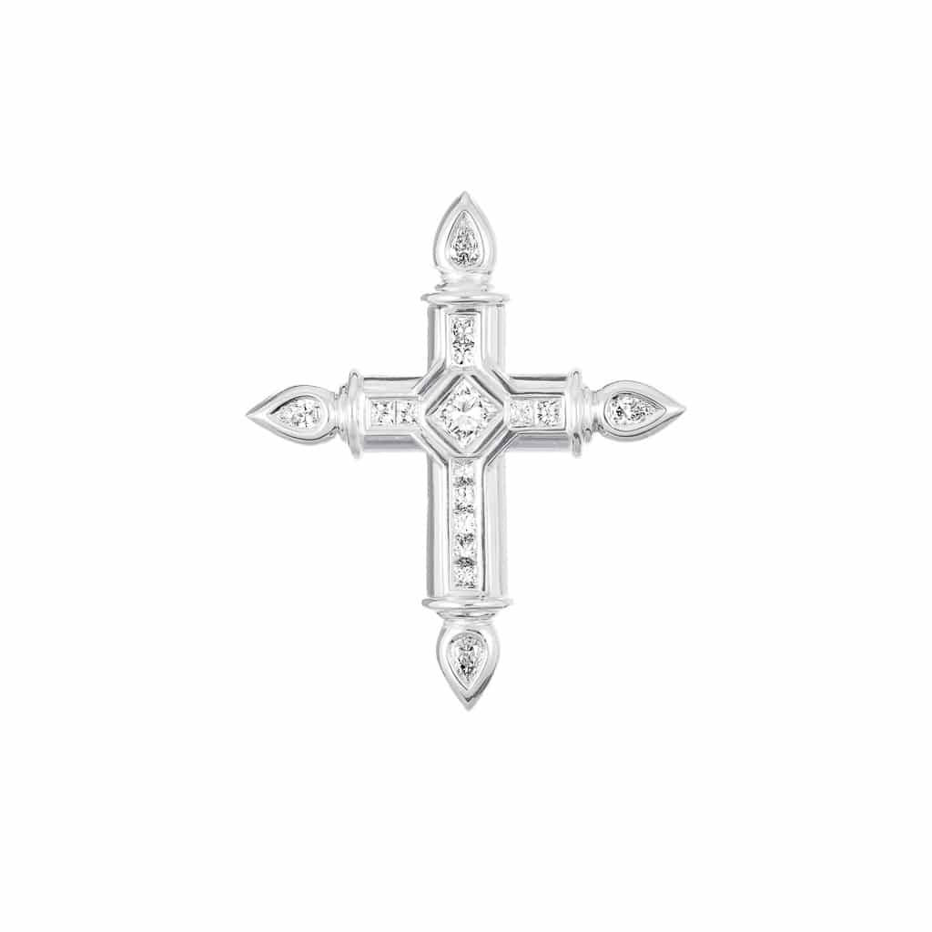 handcrafted 18ct white gold cross pendant