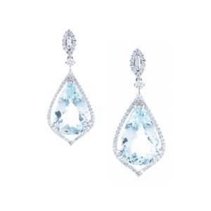 pear shape aquamarine earrings in 18ct white gold
