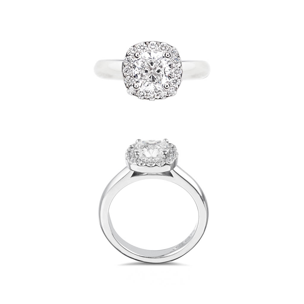 halo micro pave set diamond engagement ring