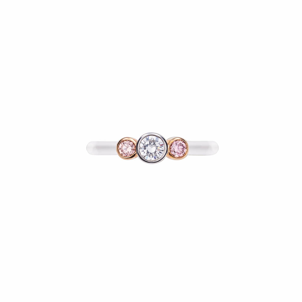 argyle pink and white diamond engagement ring (top view)