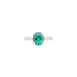 Oval African green Tourmaline and diamond ring in 18ct gold