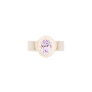 18ct yellow gold rare oval pink kunzite ring