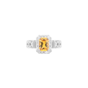 emerald cut yellow sapphire and diamond ring(top view)