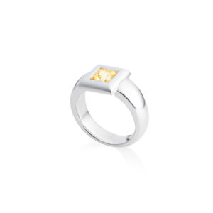 handcrafted princess cut yellow sapphire in 18ct white gold