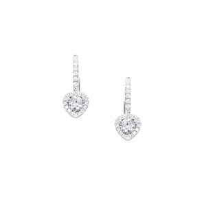 heart shape diamond earrings in 18ct white gold