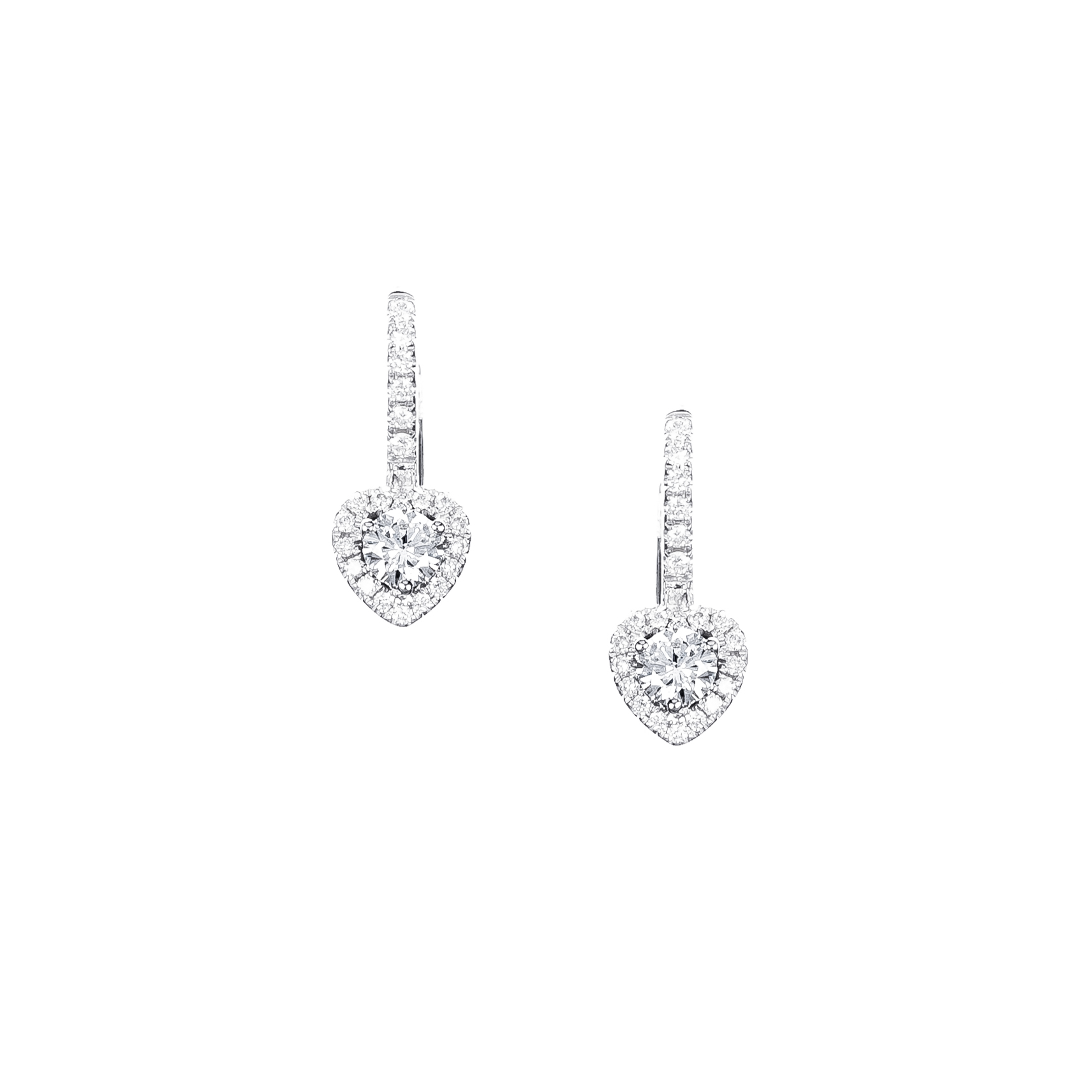heart shape diamond earrings in 18ct w/g