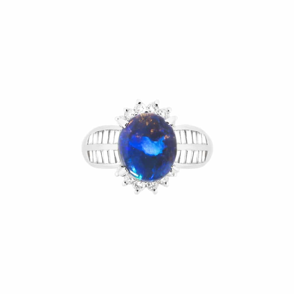 Australian black opal and baguettes diamond ring in 18ct white gold