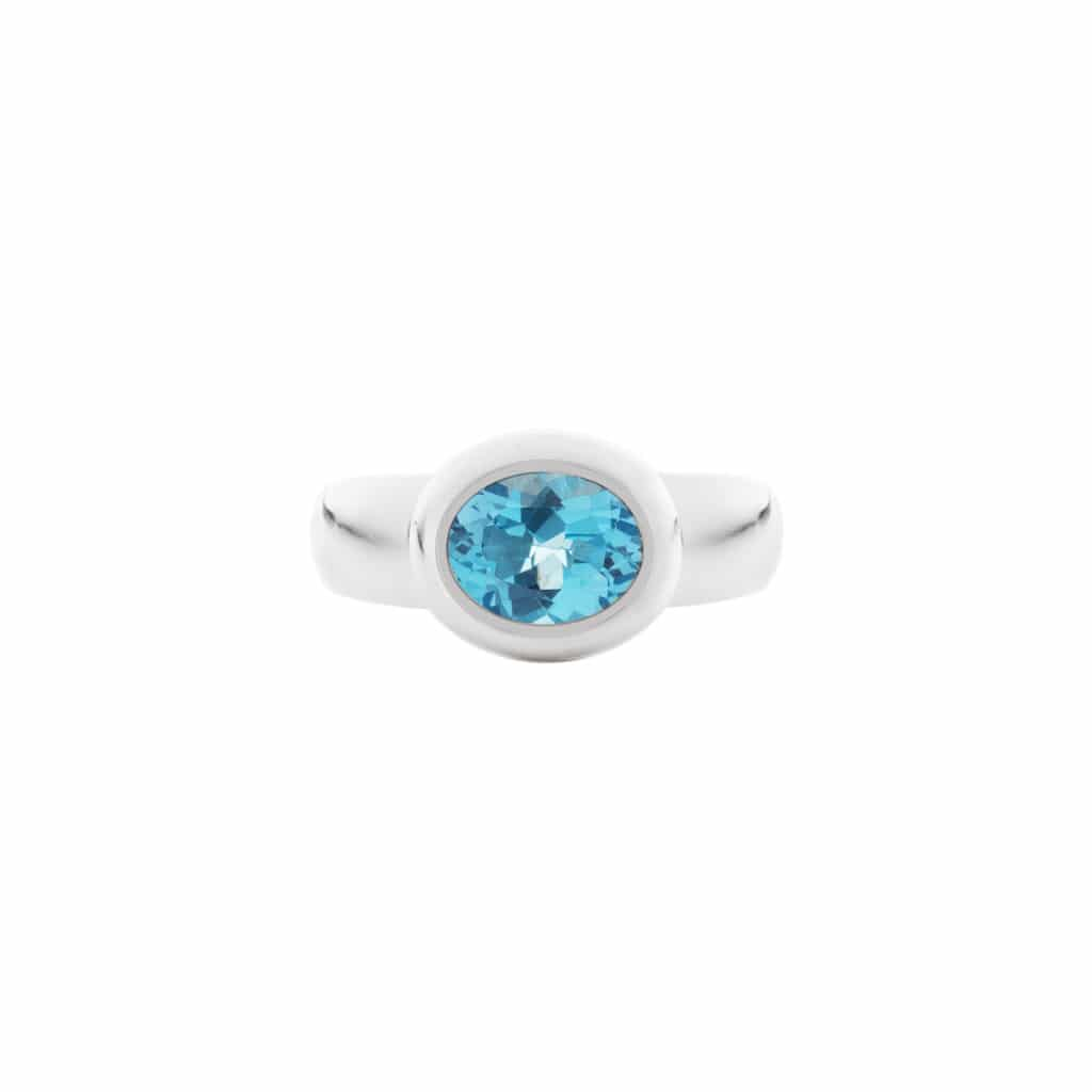 blue topaz ring in argentium silver(top view)