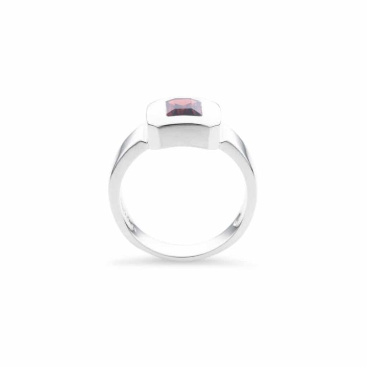 emerald cut african red garnet ring(side view)