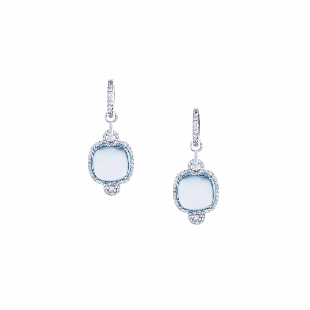 cabochon blue topaz and diamond drop earrings in 18ct white gold