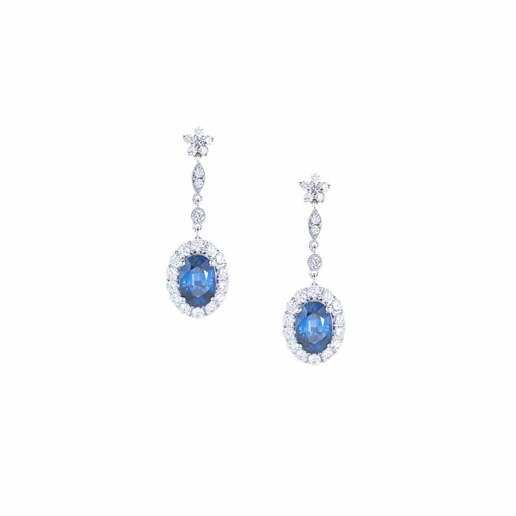 royal blue Australian and sapphire drop earrings in 18ct white gold