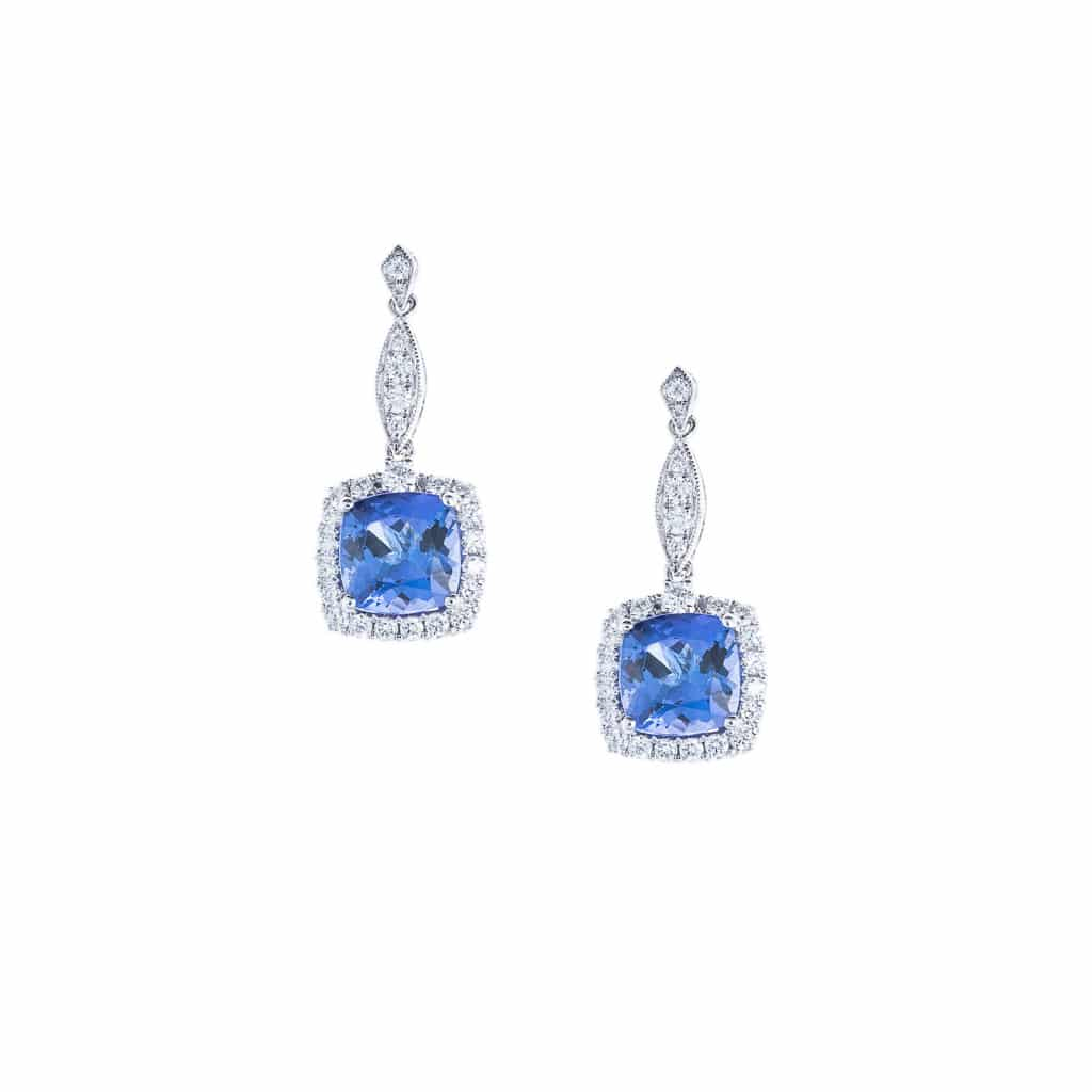cushion cut Tanzanite and diamond earrings