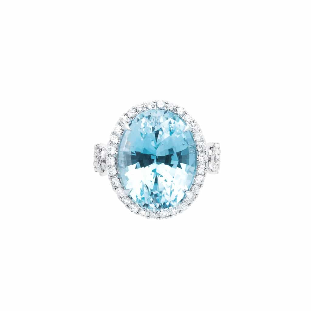 rare aquamarine and diamond cocktail ring