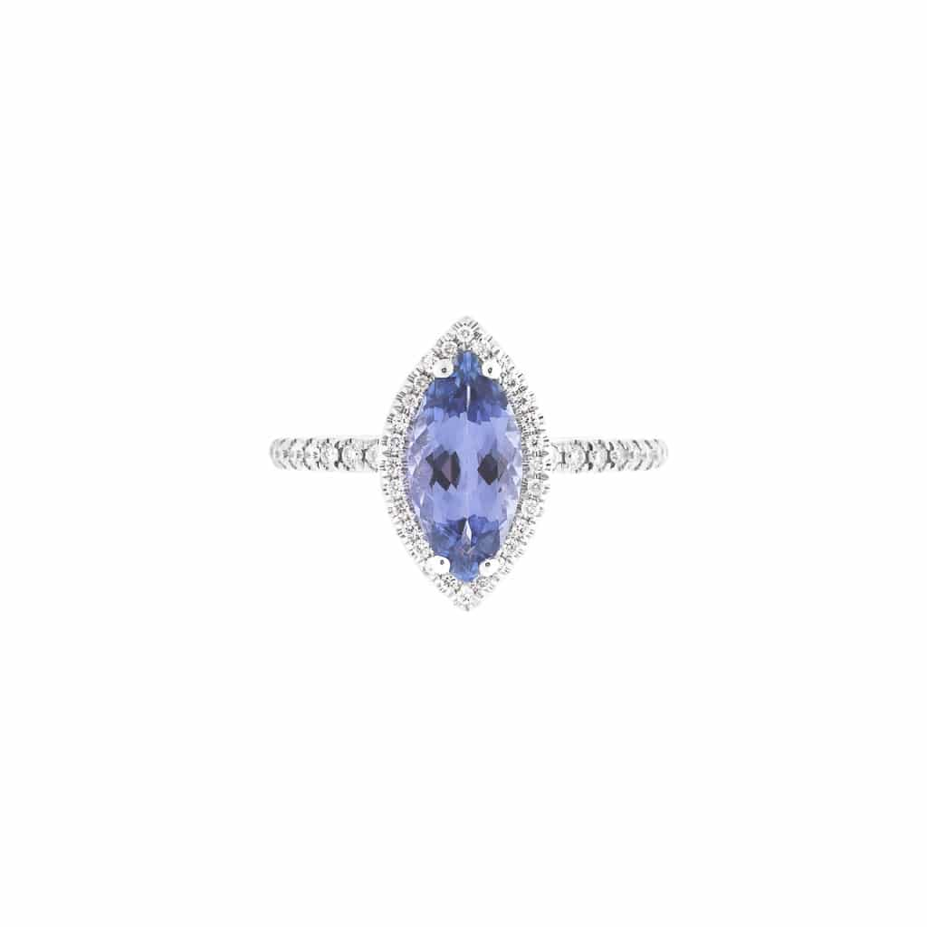 18ct marquise tanzanite and diamond ring (top view)