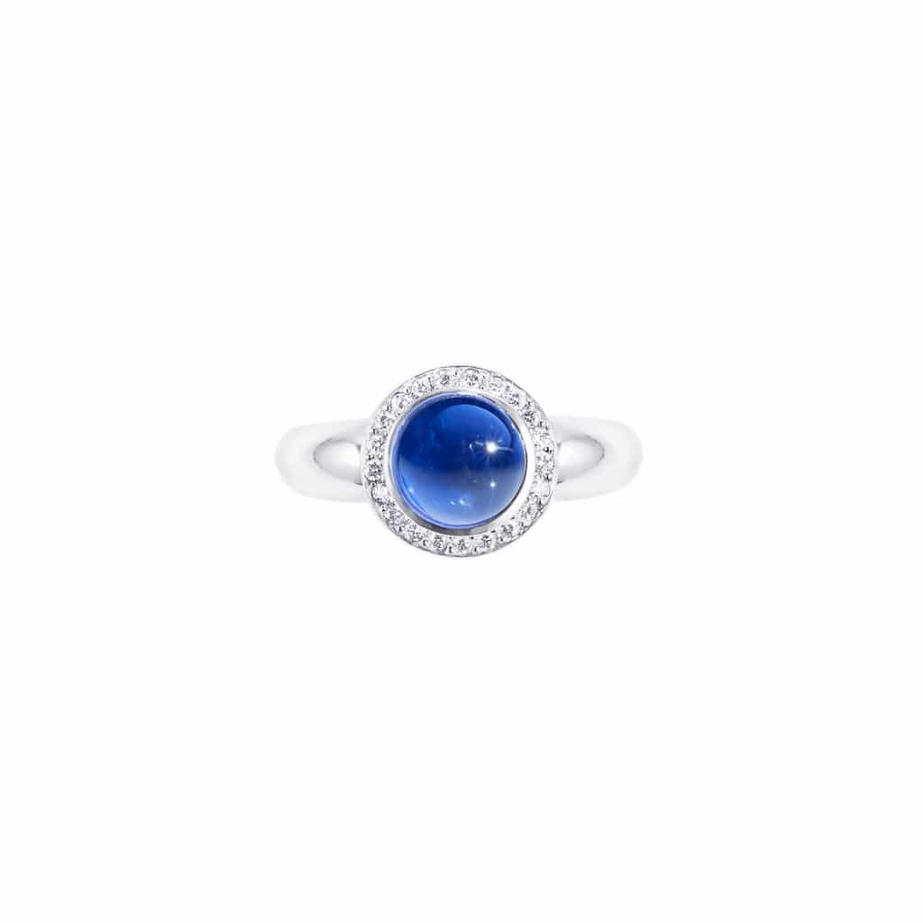cabochon blue sapphire and diamond ring (top view)