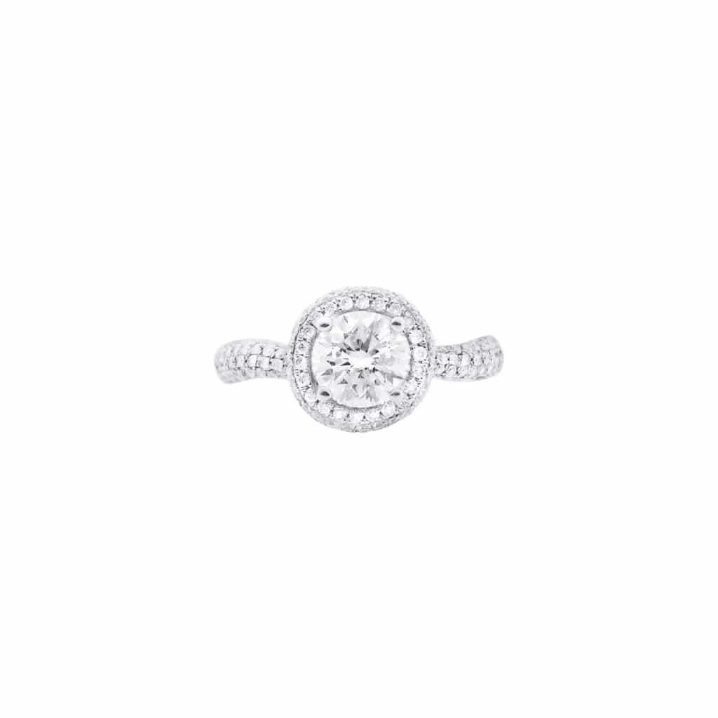 diamond encrusted engagement ring(top view)