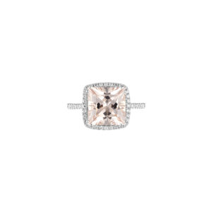 princess cut morganite and diamond ring (top view)