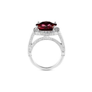red african garnet and diamond ring in 18ct w/g(side view)