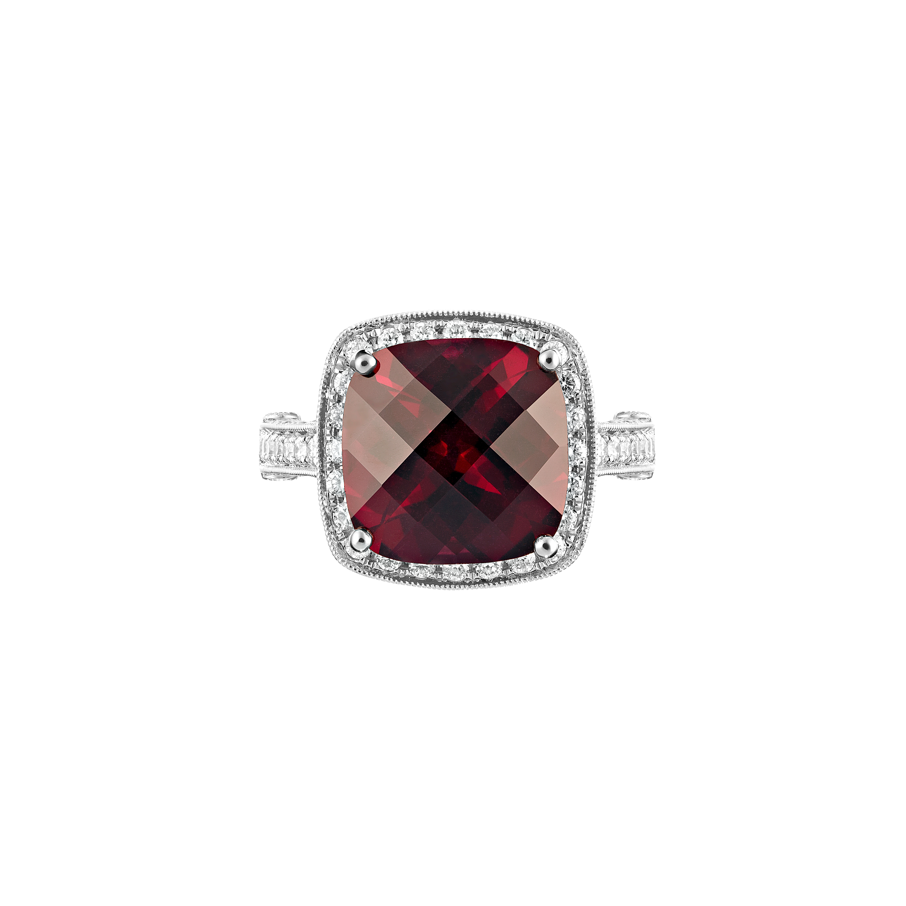 african red garnet and diamond ring in 18ct w/g(top view)