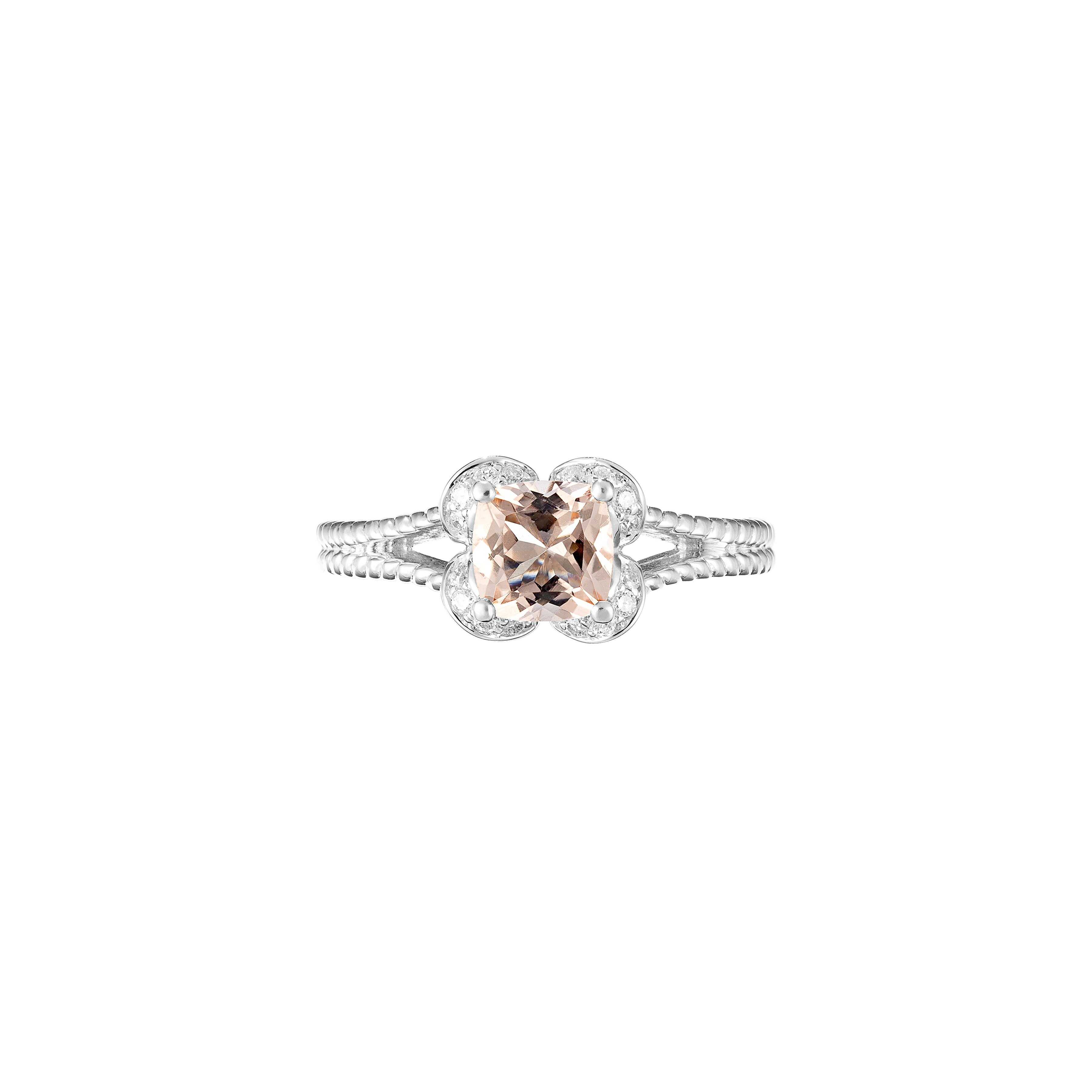 cushion cut morganite and diamond ring(top view)