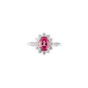 rubellite tourmaline and diamond ring(top view)