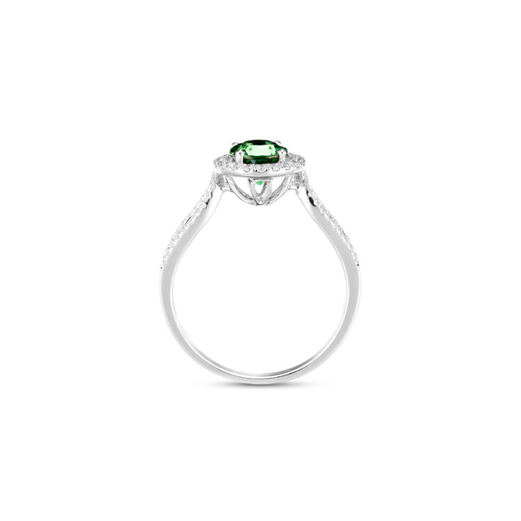 african green garnet and diamond ring (side view)