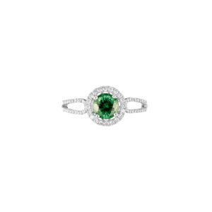 african green garnet and diamond ring (top view)
