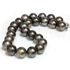 black Tahitian pearl necklace 12mm