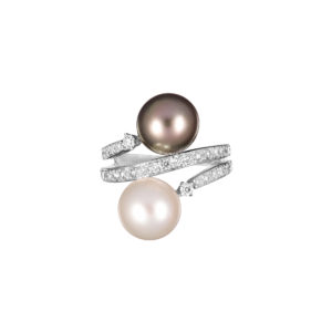 black Tahitian and white south sea pearl and diamond ring in 18ct white gold