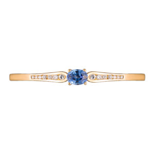 blue Ceylon Sapphire and diamond bangle in 18ct yellow gold