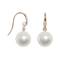 south sea pearl hook earrings in 18ct rose and white gold
