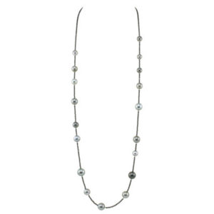 black spinel and Tahitian black multi-colour pearl necklace