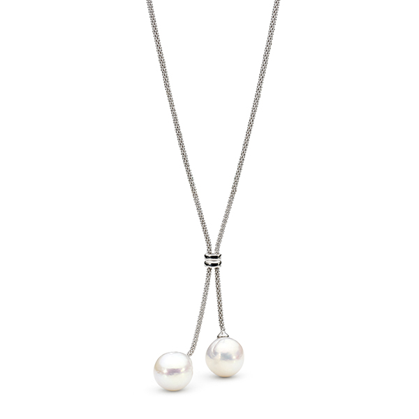 freshwater drop pearl necklace in sterling silver