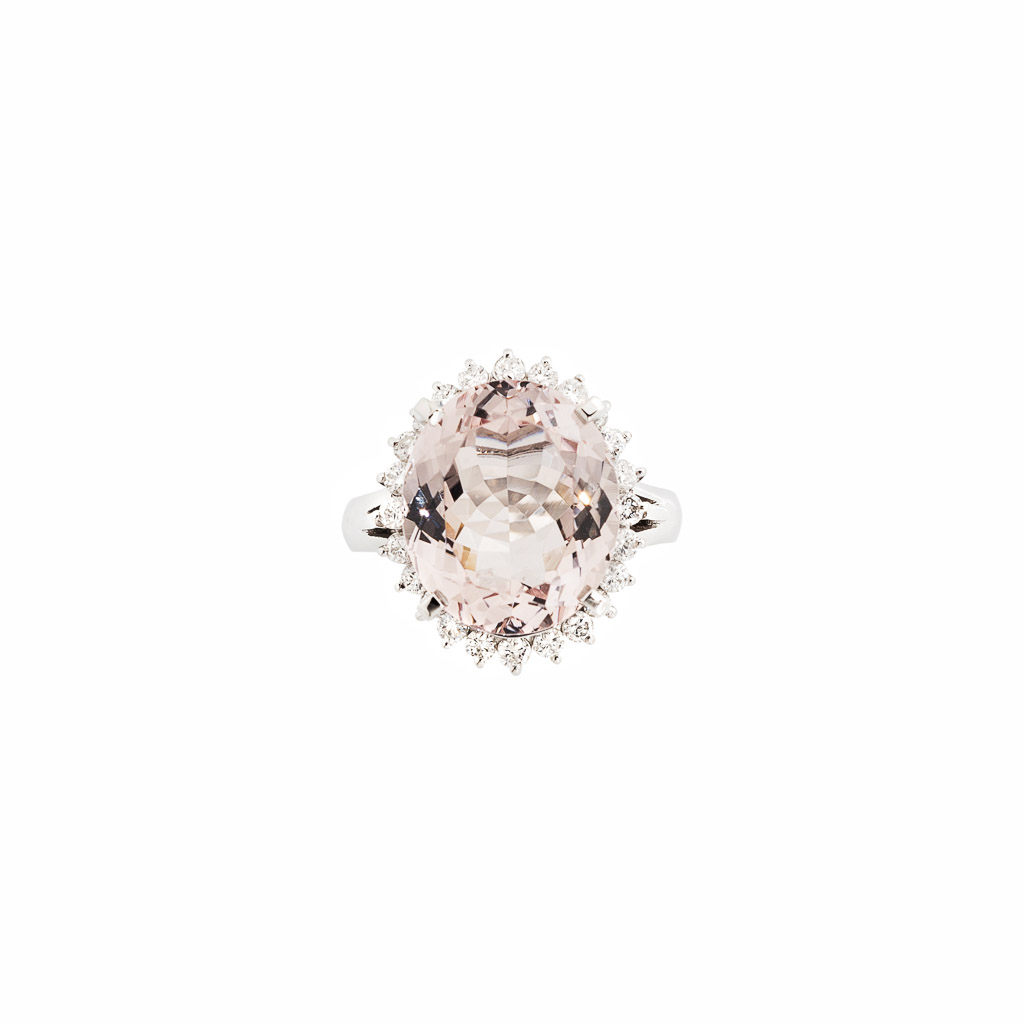 morganite and diamond ring in platinum top view