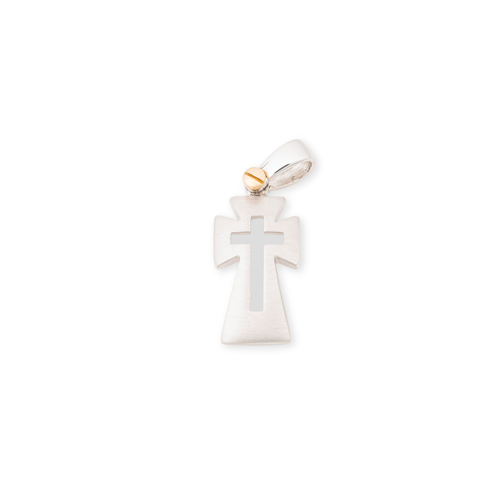 two tone 18ct gents cross pendant