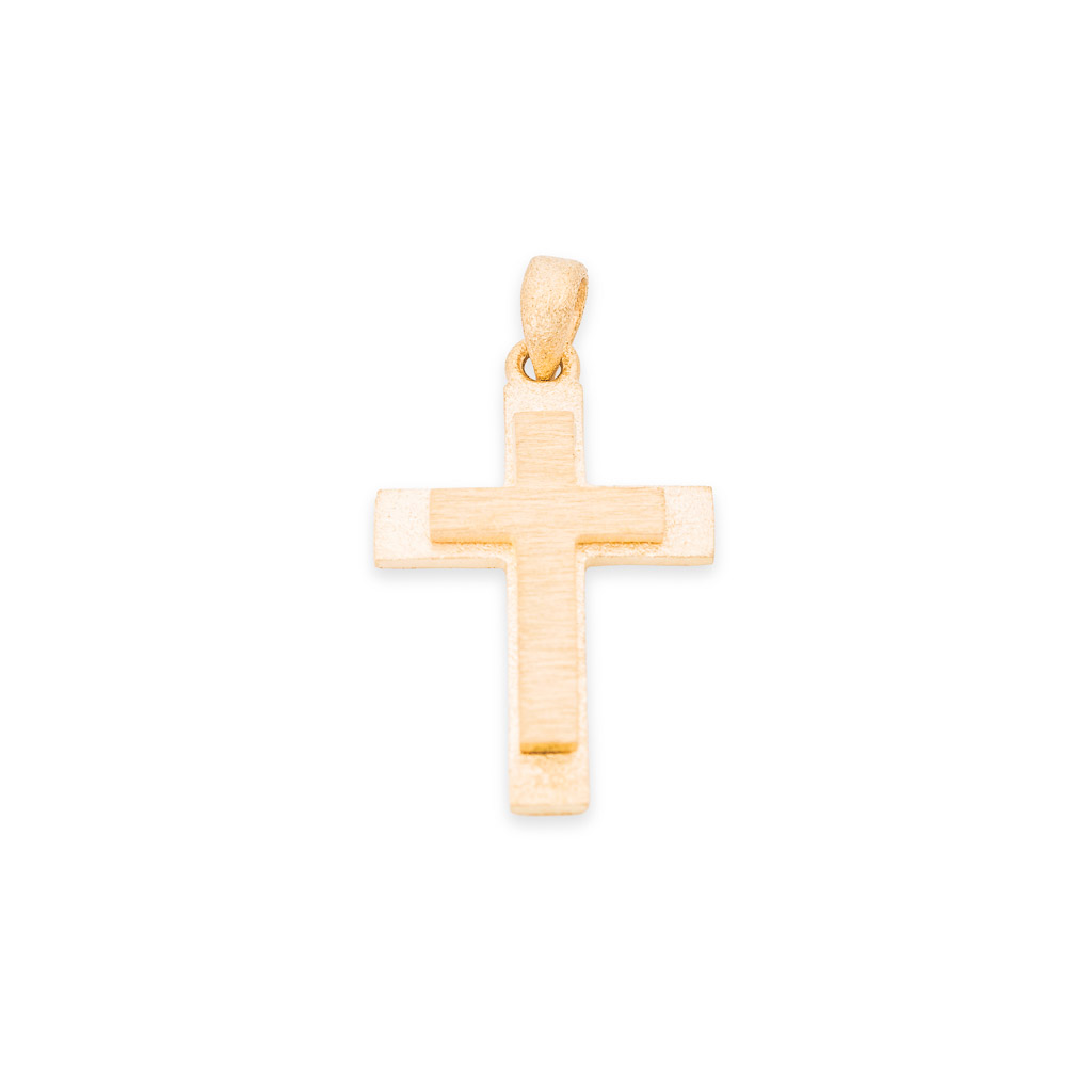 handmade 18ct yellow gold cross pendant