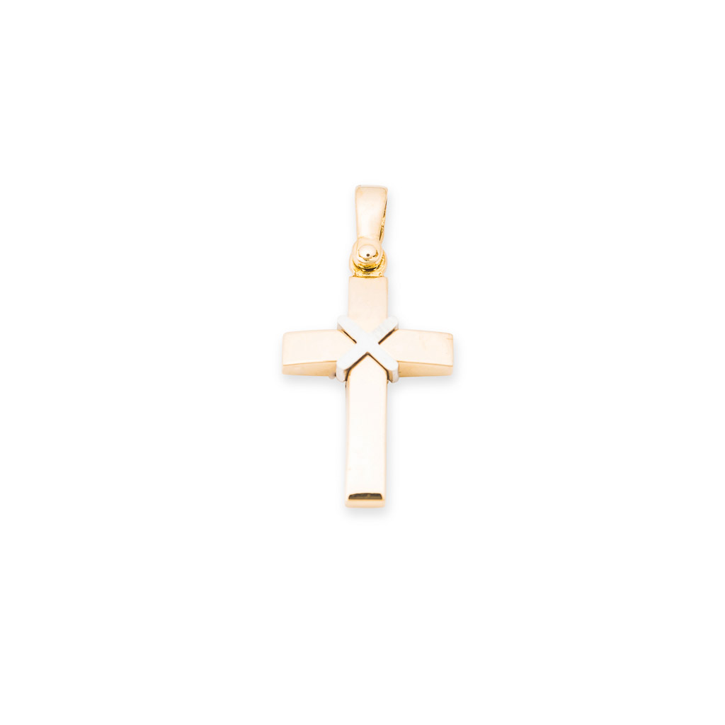 18ct two tone gents cross pendant