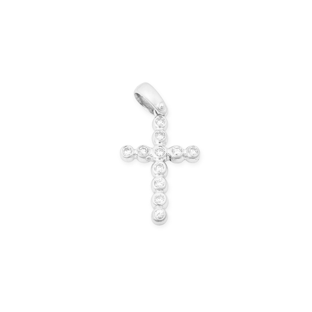 handcrafted 18ct white gold diamond cross pendant