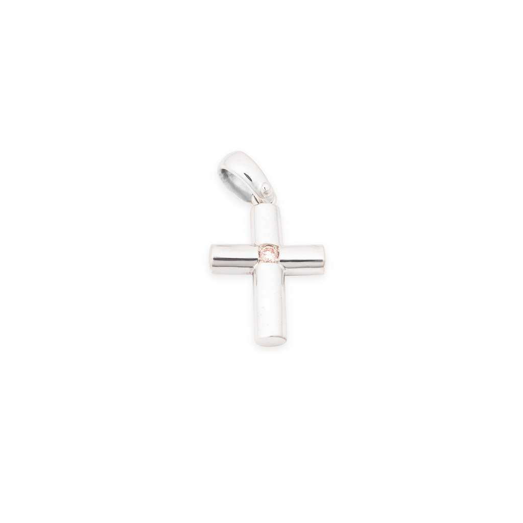 handmade 18ct white gold argyle pink diamond cross pendant