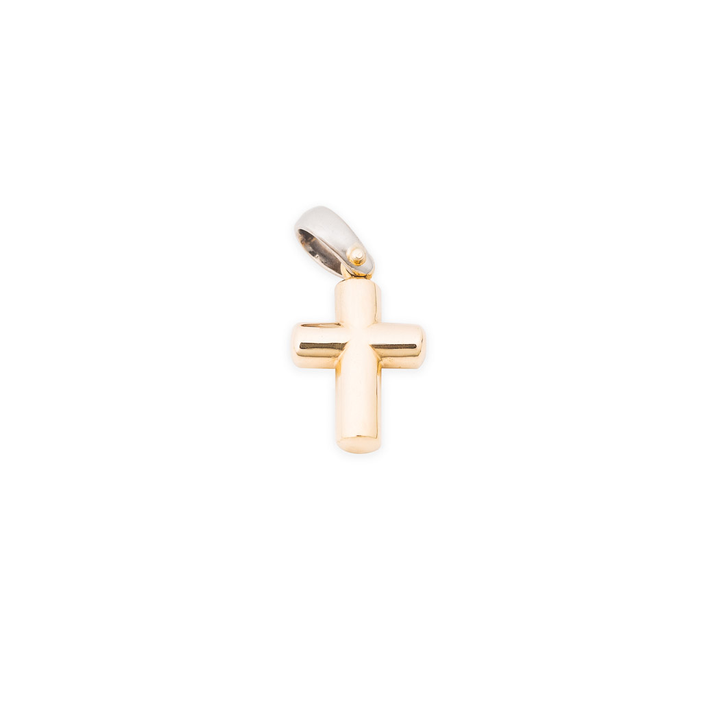 two tone cross pendant in 18ct gold