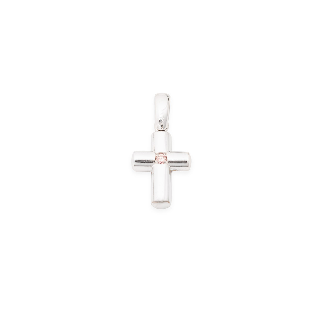 Argyle pink diamond cross pendant in 18ct white gold