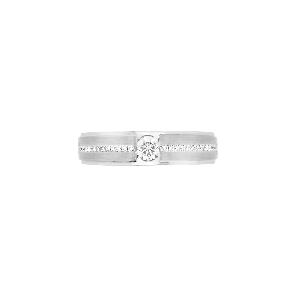 handcrafted 18ct white gold gents diamond ring
